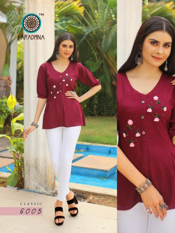 Aradhna Classic 6 Designer Embroidery Work Fancy Tops Collection