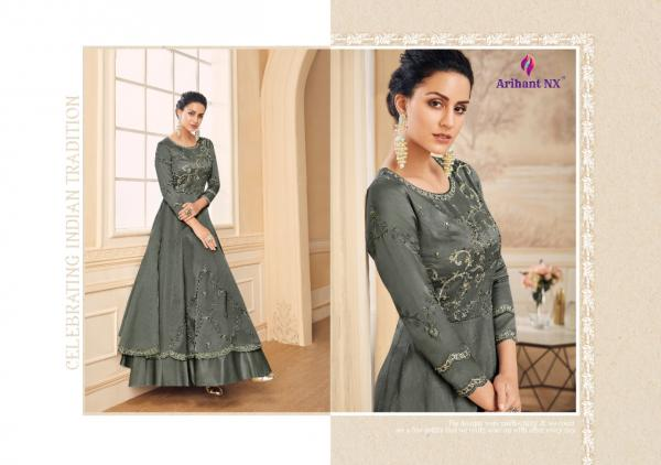 Arihant-Amorina-4 Fancy Silk Party Wear Gown Type Kurtis