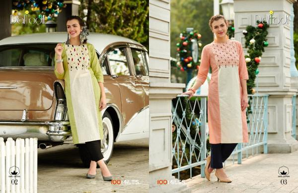 100 Miles Daffodil Cotton Stiched Designer Kurtis