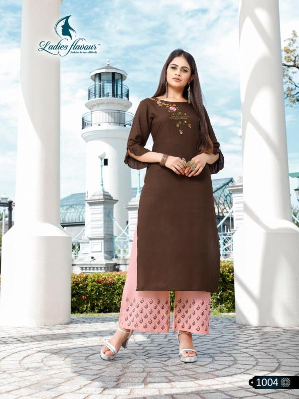 Ladies Flavour Signature Rayon embroidery Kurti with Plazzo