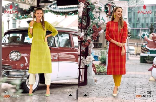 100 Miles Palm Cotton Plain Kurtis Seller