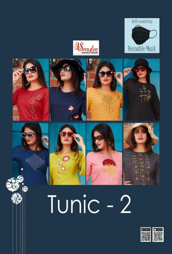 Smylee-Tunics-2 Rayon Embroidery Tops Seller